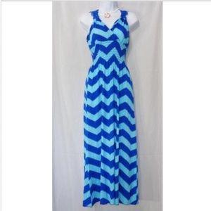 Dresses & Skirts - HAWAII BLUE CHEVRON PRINT FULL LENGTH SUNDRESS 2XL